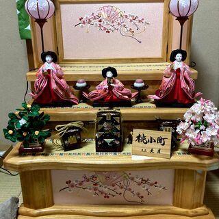 (中古)久月 三段飾り 雛人形 (お雛様・お内裏様を除く)