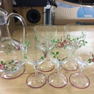 【優雅にワイン‼️】デキャンタとワイングラス5個セット