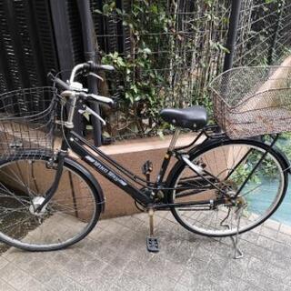 【ネット決済・配送可】自転車、オートライト、鍵、かご二つ付き