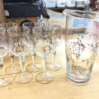 【レトロでお洒落‼️】ワイングラスとデキャンタ