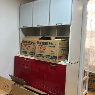 即決 食器棚 120㎝ レッド 中古  中川区 直接引き取…