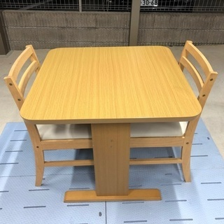 ニトリ 2人掛けダイニングテーブル&他社製の椅子2脚セット