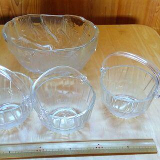 「 ガラス製アイスペール・ガラス鉢  4点セット 」 未使用品