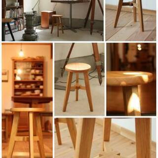 "Tripod stool ""Tris"" 無垢材 ナラ材 木製 ス..."