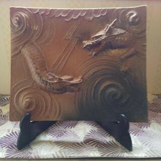 置物陶器製、ダブルドラゴン浮き彫り🐲値下げしました!