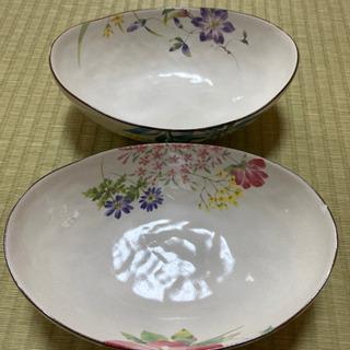 セラミック藍のお皿2つ(陶器)