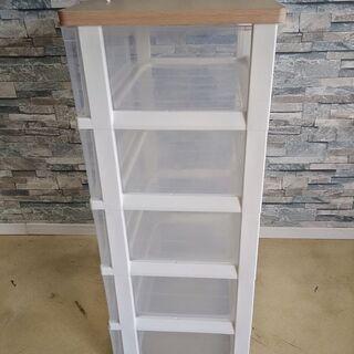 衣装ケース 5段 透明 収納BOX 棚 木製天板仕様 たんす チェスト - 家具