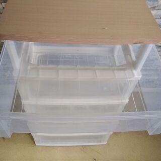 衣装ケース 5段 透明 収納BOX 棚 木製天板仕様 たんす チェスト − 福井県