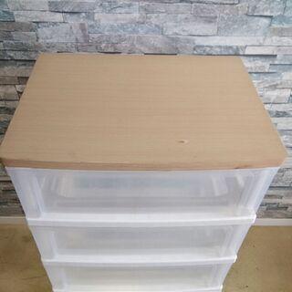衣装ケース 5段 透明 収納BOX 棚 木製天板仕様 たんす チェスト - 売ります・あげます