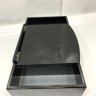 コンパクト! 卓上 鏡台 ブラック 幅40×奥行24.5×高さ12.5㎝ ジュエリーBOX 小物収納 インテリア 中古 C - 家具