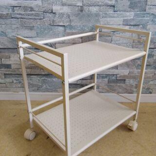 ミニラック キャスター付き 2段 キッチン 収納 ホワイト  - 家具