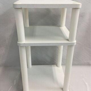 ラック 2段 棚 ホワイト ベッドサイド コーナー