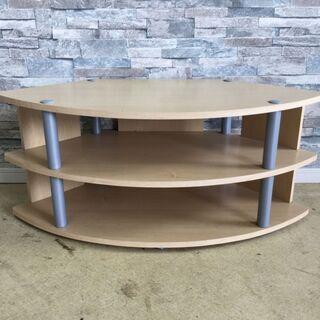 テレビ台 コーナーボード ラウンド型 木製 棚 ナチュラル…