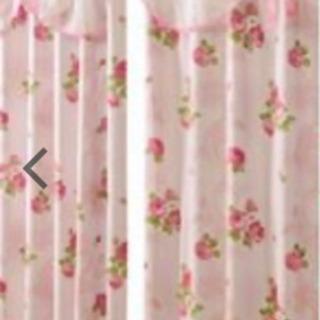 値下げピンクのフリルカーテン 2枚