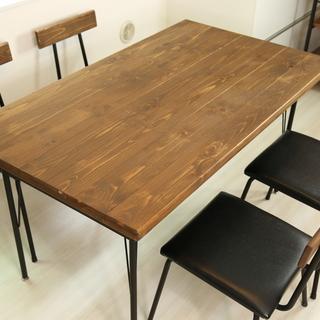 ダイニングテーブル+チェア5点 ビンテージ調 スチール脚