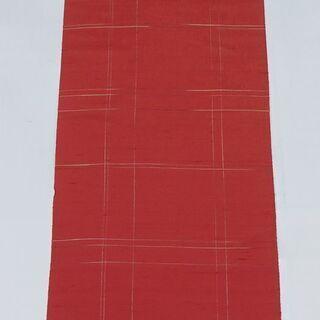 送料無料【B反】 紬 着尺 反物 約12m リメイク用 赤…