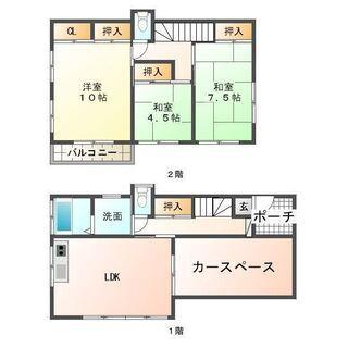 宮崎市中西町ファミリー向け一戸建て貸家 2階建て 駐車場2台
