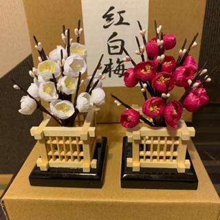 紅白梅 職人手作りの造花 20号