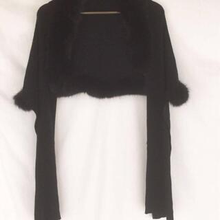【500円SALE】毛皮 ショール 黒