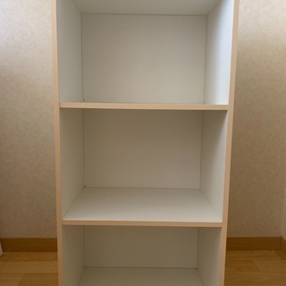 【無料】3段カラーボックス(ホワイト)