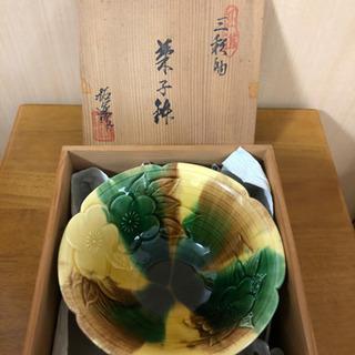 [12]菓子鉢 三彩釉 拓運