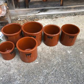 久松窯 漬物容器 切立瓶