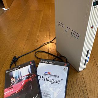 プレイステーション2 PS2 本体とソフト2本。