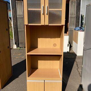 1本 食器棚 木製 4段 ガラス戸付 ナチュラル 配送OK…