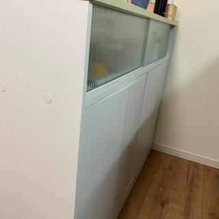 【ホワイト】カウンターキッチン食器棚