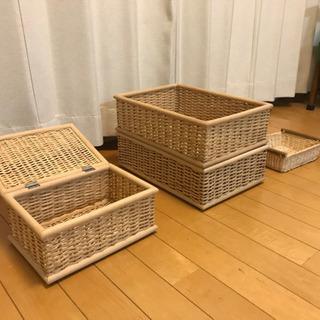 商談中[お引取限定]無印 ブリ材バスケット他 東京 - 国分寺市