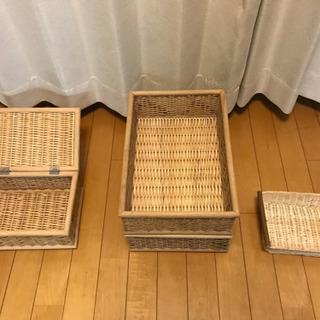 商談中[お引取限定]無印 ブリ材バスケット他 東京 - 家具