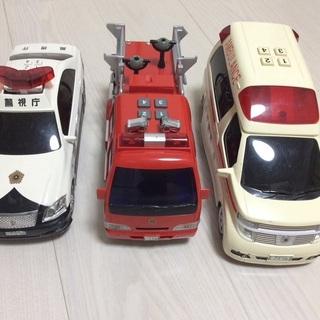 緊急車両セット(消防車、パトカー、救急車)