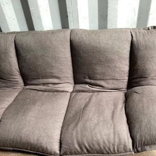 1019-2 座椅子ソファー 2人掛け リクライニング 黒汚れあり