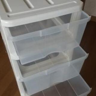 押入れ  3段ボックス   クリアボックス - 家具