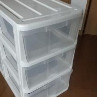押入れ  3段ボックス   クリアボックス
