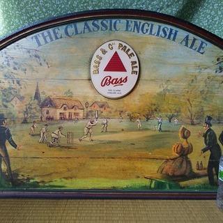 BASS Pale Ale パブサイン クリケットを楽しむ田舎の風景