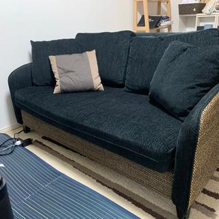 【ネット決済】オシャレ家具!3人がけソファ ウォーターヒヤシンス