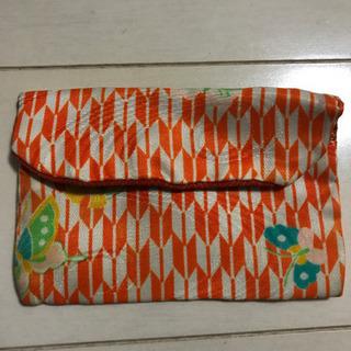 オレンジ色和柄のミニポーチ 名刺入れサイズ