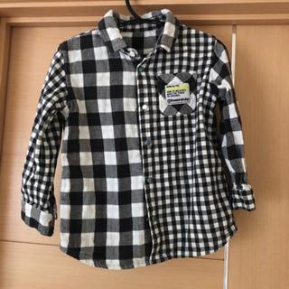 男の子 ネルシャツ 白黒チェック 綿シャツ 110センチ