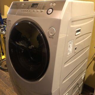 【2015年製】SHARP シャープ 洗濯9kg、乾燥6kg ドラム式洗濯乾燥機ES-V600-NL - 大阪市