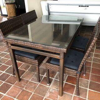 ラタン調 テーブルセット