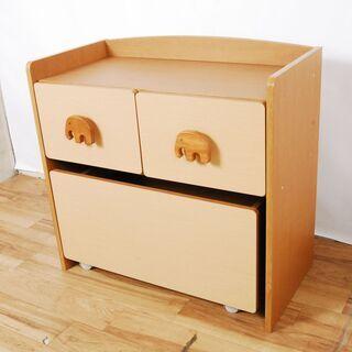 3617 木製 子供用 収納棚 おもちゃ箱 高さ71cm …