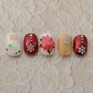 クリスマスネイル③ポインセチア