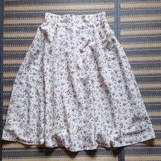 小花柄 ホワイト ミモレ丈 スカート