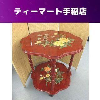 東洋風 サイドテーブル 花台 赤 キャスター付きオリエンタ…
