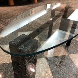 大理石ガラステーブル - 家具