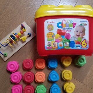 知育おもちゃ コンビ 柔らかブロック、ビーズコースター