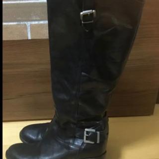 【ネット決済・配送可】黒のレザーロングブーツ 36サイズ  MA...