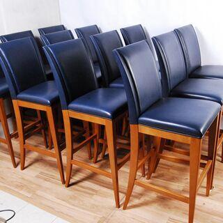 3662 カウンターチェア 12脚セット ナラ材 木製 ネイビー D40×W46.5×H115cm 座面高さ77cm 愛知県岡崎市 直接引取可の画像