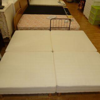 大特価☆k19☆クイーンベッド☆足付きマットレスタイプ(4分割タイプ)☆幅1770㎜☆近隣配達、設置可能  - 家具